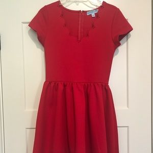 Aina Be Red Scalloped Short Sleeve A Line Dress